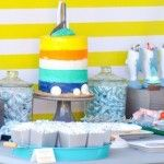 Dessert table at a Jawesome shark themed birthday party by Kara Allen   Kara's Party Ideas   Cute for Shark Week!