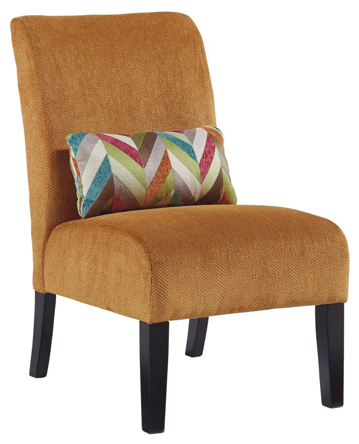 Annora Orange Contemporary Armless Accent Chair With