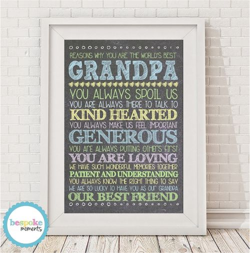 Personalised Best Grandpa Print by Bespoke Moments. Worldwide Shipping Available.