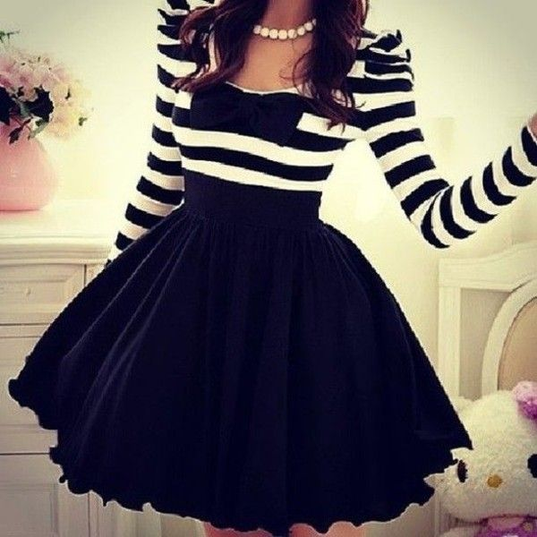 Dress: stripes pretty. girly party black classy sweet skirt pretty... ❤ liked on Polyvore featuring dresses