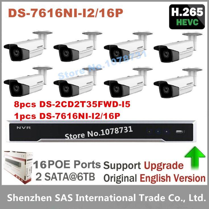 Hikvision NVR DS-7616NI-I2/16P 16CH 16 POE   8pcs Hikvision H.265 IP Camera DS-2CD2T35FWD-I5 3MP Ultra-Low Light Bullet Camera