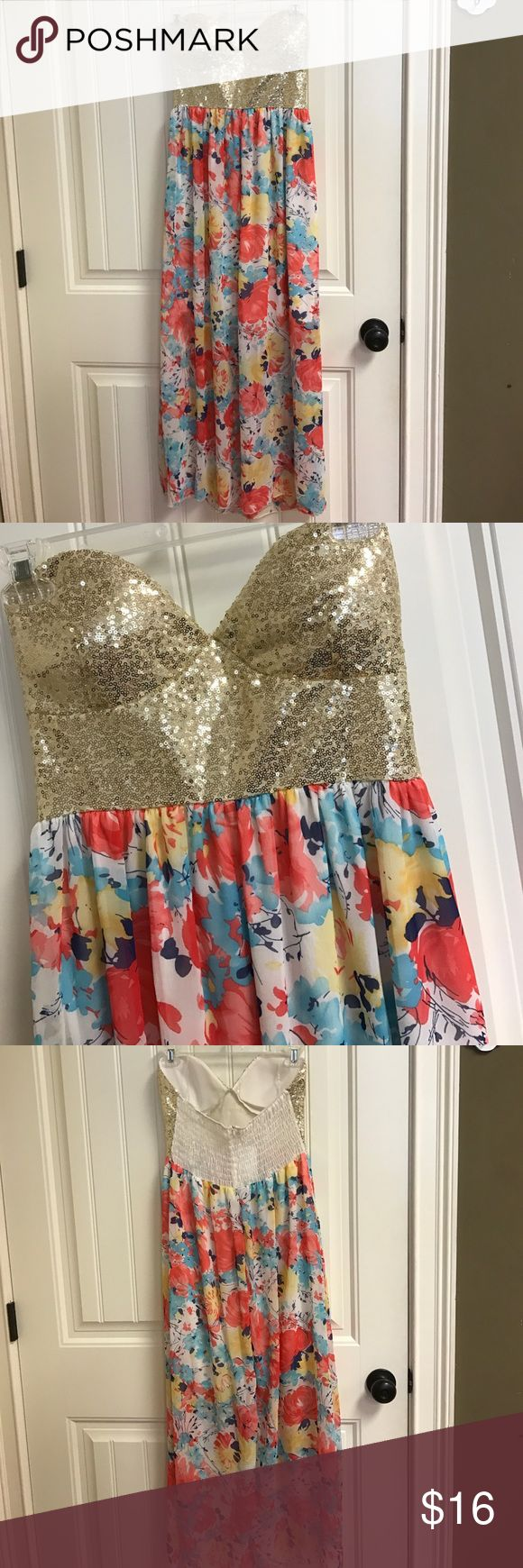 """Maxi Floral Sequin Dress Strapless, Sequin top with floral bottom. Padding. Great condition. 45"""" long. No brand Dresses Maxi"""