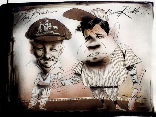 Caricature of Sir Don Bradman and Babe Ruth by artist Bill Leak.