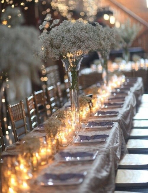 votive table runner w/simple baby's breath arrangements. #wedding #decor #reception #party