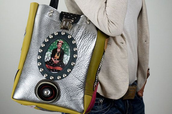 Silver LEATHER TOTE BAG with image of Frida by NeroliHandbags, €144.00
