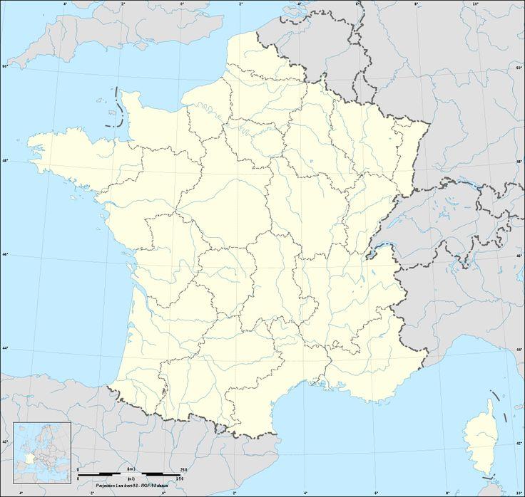 Fond de carte de France vierge avec rivières, fleuves et contours des régions