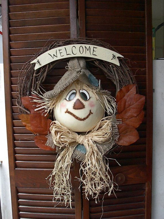 Painted Gourd Scarecrow  Grapevine Wreath  Fall by NatsKreations,