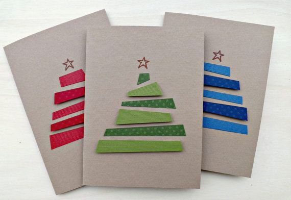 CHRISTMAS CARD SET Greeting cards Handmade card with Christmas Tree Note cards Kraft Paper Red Green Blue on Etsy, $12.68