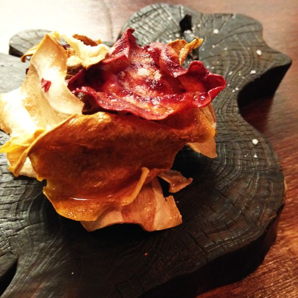 Vegetable crisps and black garlic - Kim Restaurant Potts Point - modern take on Korean