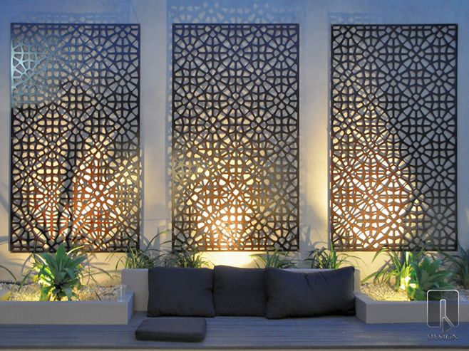 Grail Laser Cut Screen. The Grail Outdoor Wall Art is a contemporary take on a classic Moroccan design. This design can be given a rustic patina when made with Corten Steel, or infuse a modern edge by using a powder coated aluminium finish. | Available from WG Outdoor Life, Perth, Western Australia.  | © Q Design