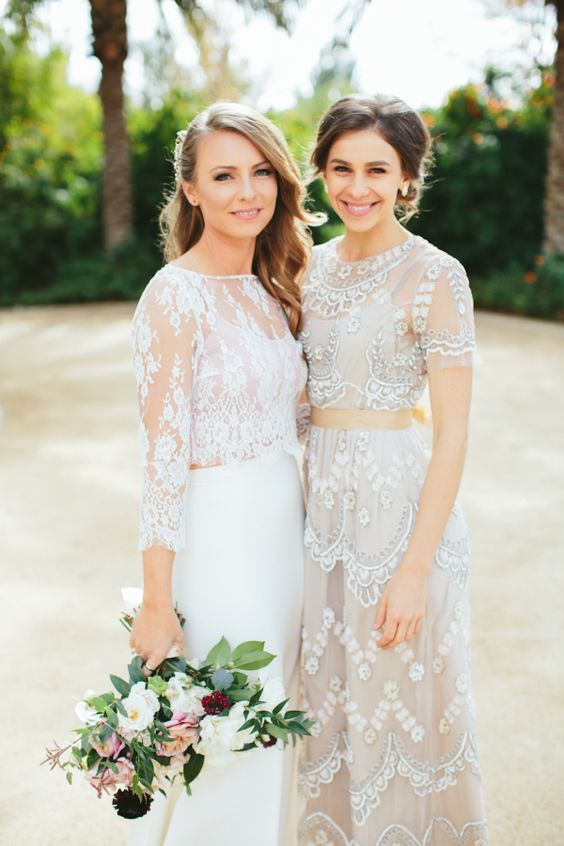 gorgeous two piece wedding dress & sheer bridesmaid dress