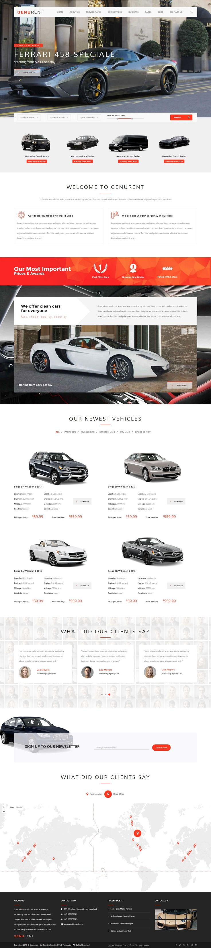 Genurent transport and car hire html template