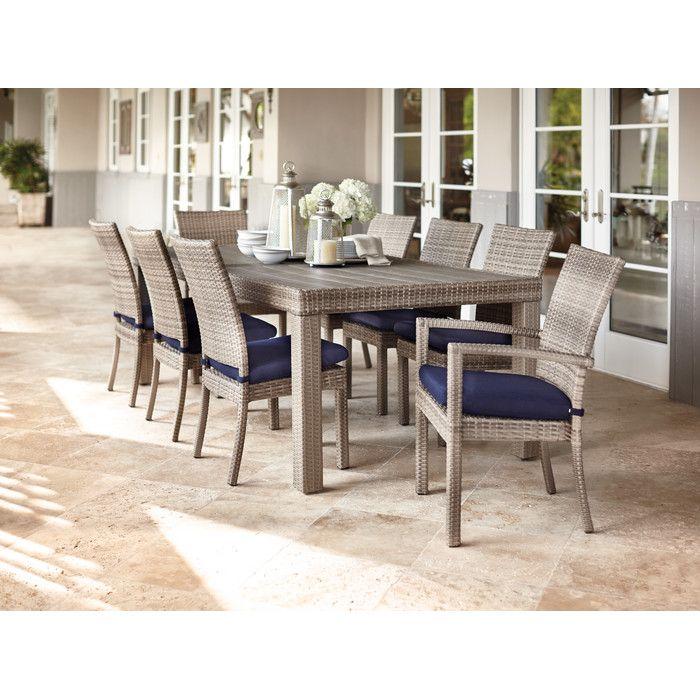 Beachcrest Home Highland Park 9 Piece Dining Set with Cushions & Reviews | Wayfair
