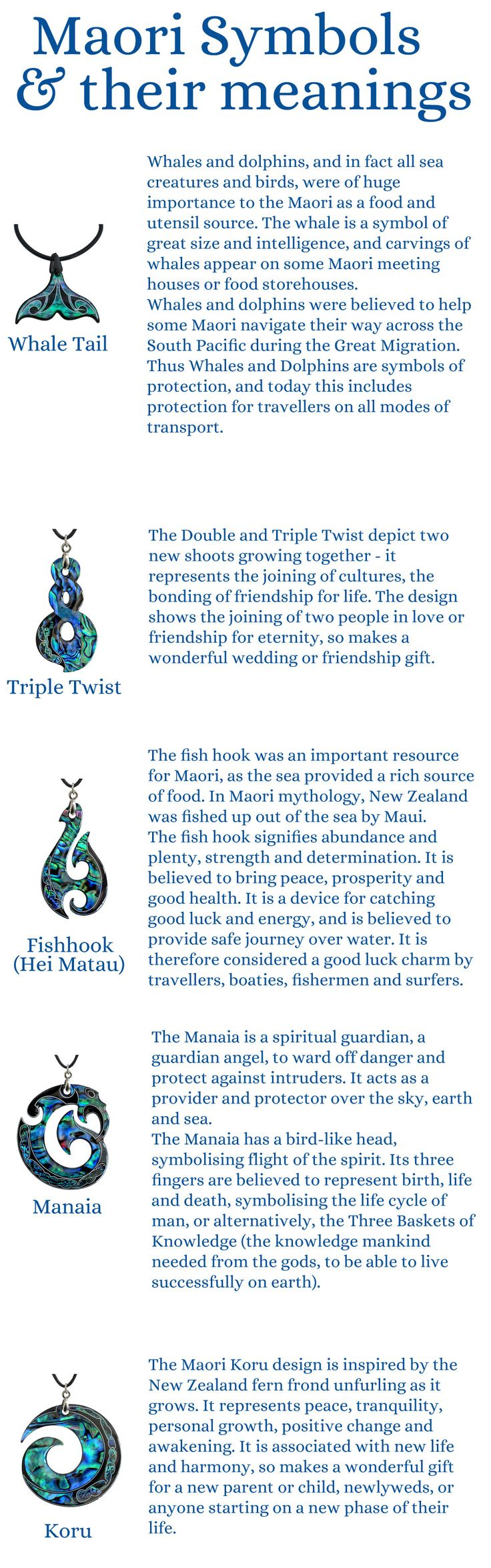 A quick reference to the maori shapes and symbols used in some of our jewellery <3