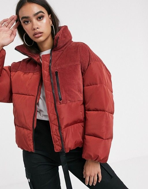 ASOS DESIGN padded jacket with cord patching in red ...