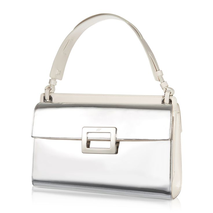 ROGER VIVIER - Miss Viv' shoulder bag in mirrored leather with inserts in smooth leather, metal details, iconic buckle, shoulder strap and posterior pocket. Essential lines inspired by the 50s, perfect to complete a preppy-chic look. #TheLuxer #RogerVivier #SS15 #NewCollection