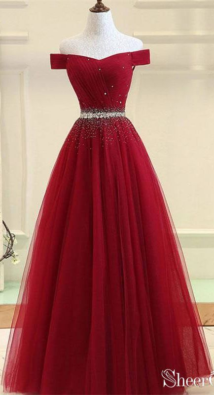 Awesome Off the Shoulder Beaded Prom Dresses Red Long Prom Dresses APD3420