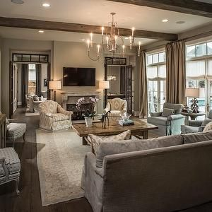 French Doors With Transom Windows   Transitional   Living Room   Thompson  Custom Homes