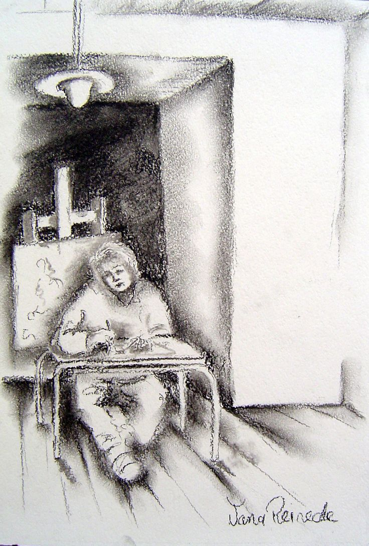 Artist at work.charcoal on paper