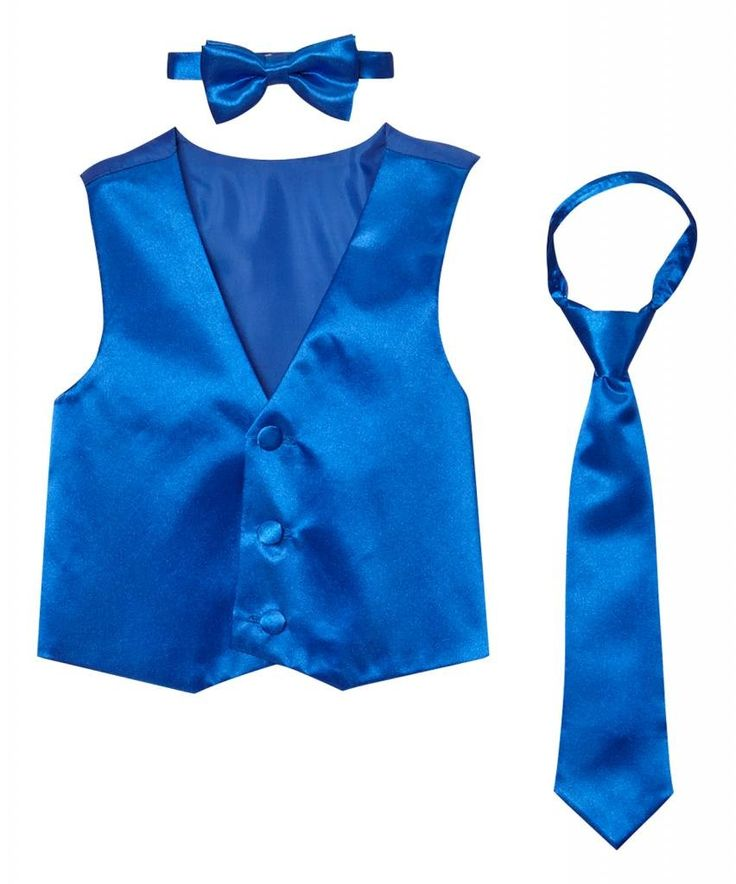 Classykidzshop Solid Royal Blue Vest with Bow Tie and Long Tie - 10. Includes vest, tie and bow tie. 100% polyester. Hand wash; hang dry. Imported.