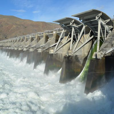 The Priest Rapids Dam is about 20 miles south of Interstate 90 on the Columbia River in Grant County, Washington. Description from nwnewsnetwork.org. I searched for this on bing.com/images