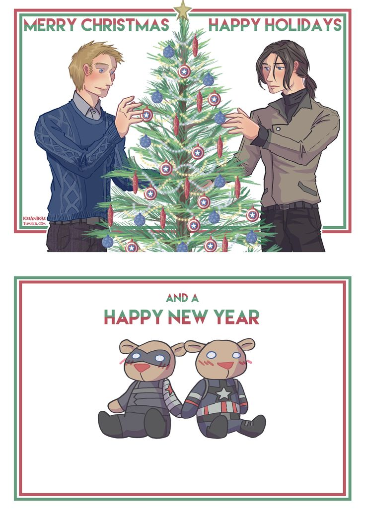 Happy belated Christmas everyone!!  Here, have a Bucky Bear and Stevie Bear holding hands.