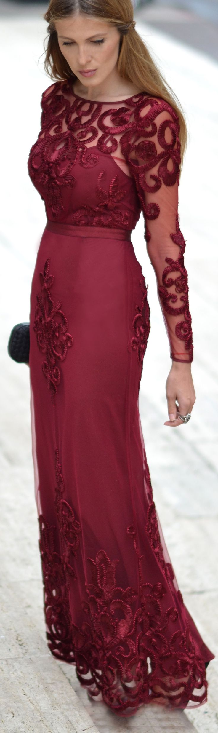 The Secret Stop Red Wine Embroidered Gown