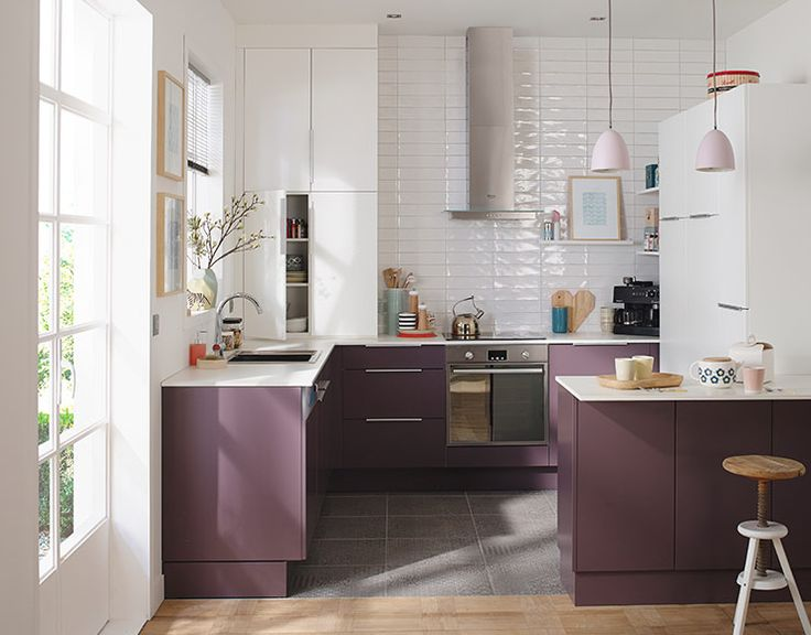 Best Déco Violet Images On Pinterest Architecture Condo - Meuble cuisine aubergine pour idees de deco de cuisine