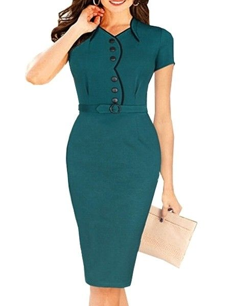 Appealing Pleated V Neck With Zips  Bodycon-dress