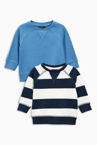 Buy Blue Long Sleeve Pique Crew Two Pack (3mths-6yrs) from Next Australia