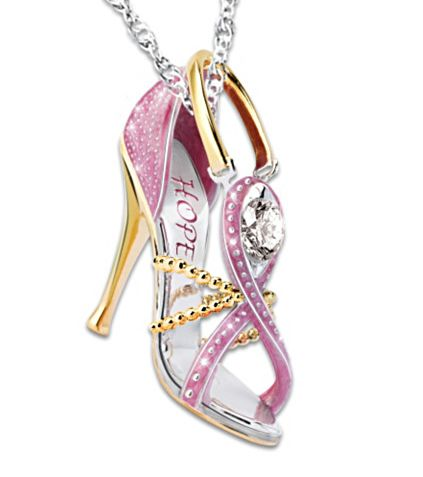 Gorgeous pink high heeled necklace is a stylish and unique way to support Breast Cancer Awareness - a portion of each sale is donated to help raise awareness.