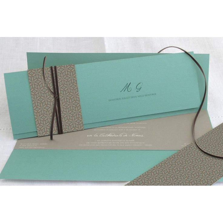 Faire part mariage « Elégance turquoise », Editions Créatives EC-M105