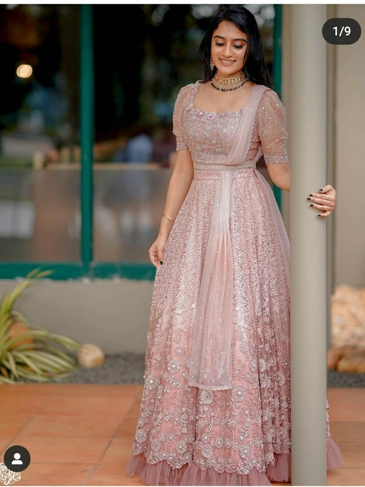 Hairstyle On Gown Indian Wedding Indian Wedding Outfits Half Saree Designs Indian Anarkali Dresses