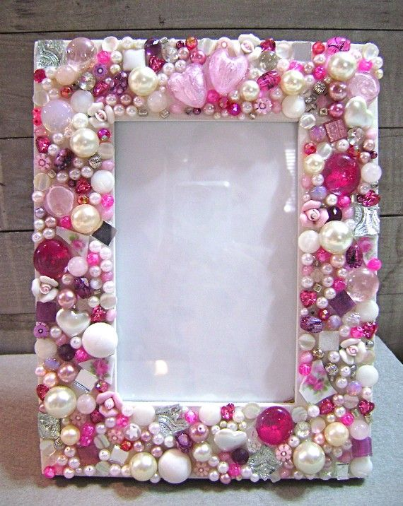 Mosaic Jeweled Picture Frame  Pink by 2ndTimeAroundMosaics on Etsy