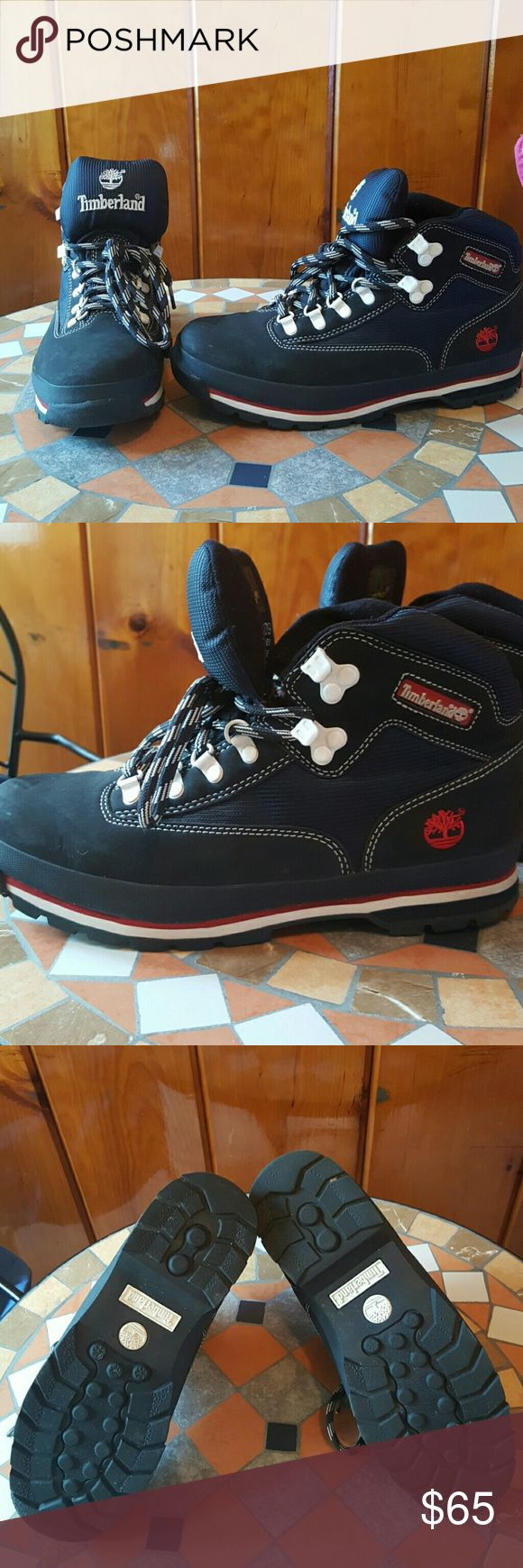 Navy Blue Timberland Boots Excelent Used Condition! Used just 3 or 4 times! Navy blue color, red Timberland logo on the sides! Timberland Shoes Boots