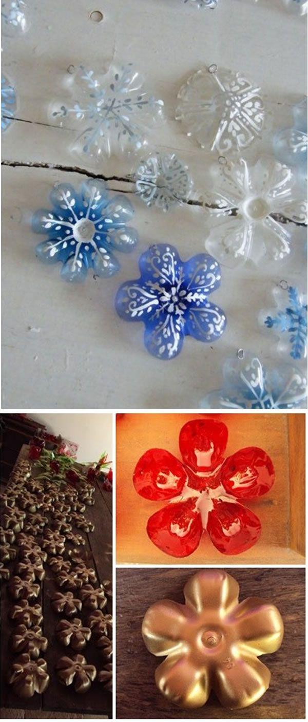Pensando na febre  do momento, Frozen, olha que enfeites legais de floco de neve feitos com o fundo de garrafas pet.