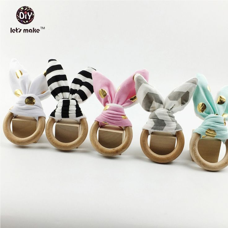 Let's Make Baby Beech wooden teether 10pc Newborn Toy Eco-Friendly Montessori Toy Organic Bunny Ear Wooden Teether Bracelets