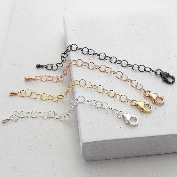 Extensor de collar | Collar extra largo | 3 o 5 pulgadas | Plata, oro, oro rosa o plata oxidada