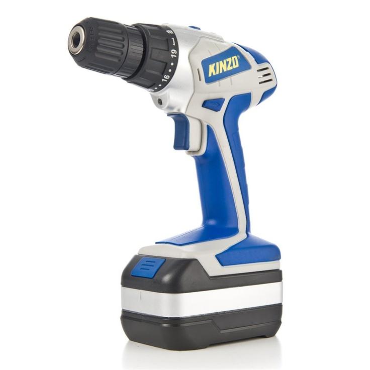 Kinzo batteridrevet drill. Kraftig og solid batteridrevet drill med LED-arbeidslys som automatisk går på når drillen brukes.