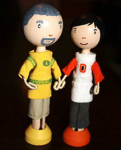 A House Divided | Flickr - Photo Sharing!...This is a husband - wife combo that are at odds when it comes to the school they cheer on. Oregon Ducks vs. Oregon State Beavers.