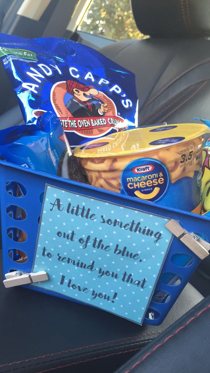 """""""A little something out of the blue to remind you that I love you"""" Dollar store basket filled with treats that have blue wrappings!"""