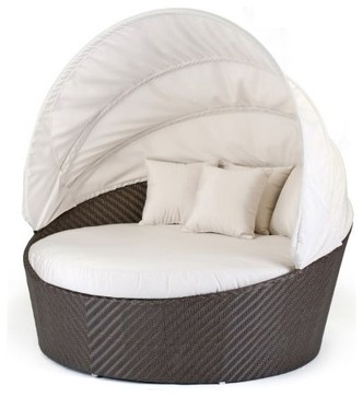 Caluco All-Weather Wicker Round Moon Daybed contemporary outdoor chaise lounges