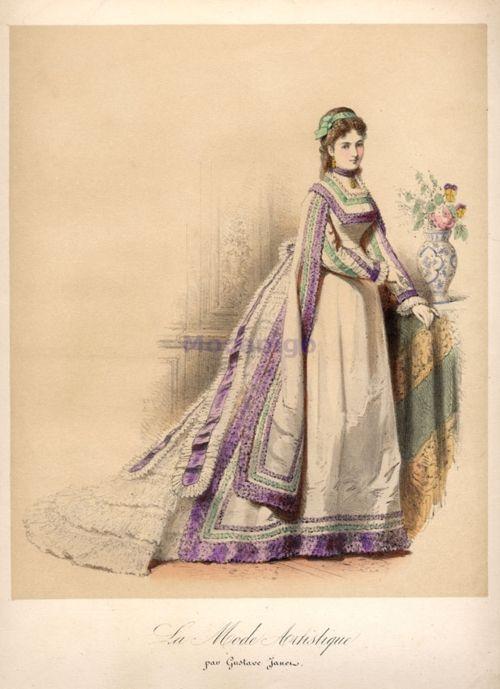 Fashion plate, 1870's France, La Mode Artistique