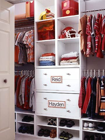 Two Boys, One Closet Problem: Toys, shoes, and who-knows-what-else ends up in a jumble on the floor of a shared kids' closet. Solution: The secret is in giving each child his own space, even when it's shared. Separate the space into two sides, and use name tags to label who's who.