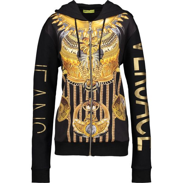 Versace Jeans - Printed Jersey Hooded Sweater ($122) ❤ liked on Polyvore featuring tops, sweaters, multi, colorful sweaters, hooded top, versace sweater, patterned sweater and zipper sweater