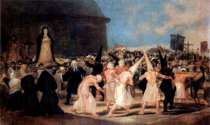 Procesión de disciplinantes, de Francisco de Goya. Este pintor criticó acerbamente las costumbres eclesiásticas. Procesión de disciplinantes, o Procesión de flagelantes, es un óleo sobre tabla de pequeño formato que pintó Francisco de Goya entre 1812 y 1819 y que representa un ritual de fervor católico en que unos hombres llamados disciplinantes fustigan sus espaldas en señal de penitencia.  Un grupo de flagelantes, de blanco, con el torso desnudo, encorozados y con las espaldas sangrantes…