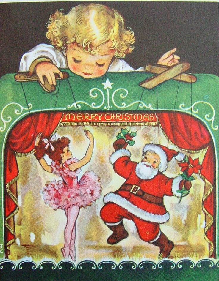 #E493- Vintage Unused Crestwick Xmas Greeting Card Sweet Girl & Puppet Theater