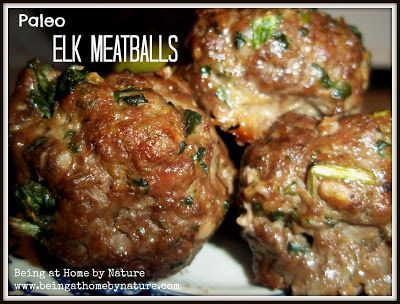 "Paleo elk meatballs 1 pound of ground elk 1/2 cup chopped spinach  1 egg  3 cloves garlic, minced 1/4 cup chopped onion 1/2 tsp. black pepper 1/2 tsp. cayenne pepper sea salt to taste Preheat oven 400 degrees. In a large bowl, combine all ingredients, mix & Form into golf ball sized rounds. Place meatballs 1"" apart on baking sheet. Bake for 20 mins/lightly browned. Makes about 12 meatballs."