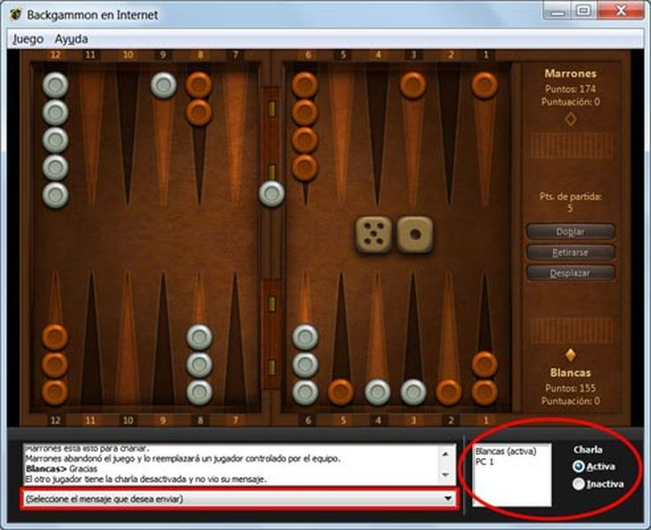 Lista y uso de juegos gratis incluidos en Windows 7: Backgammon en Internet