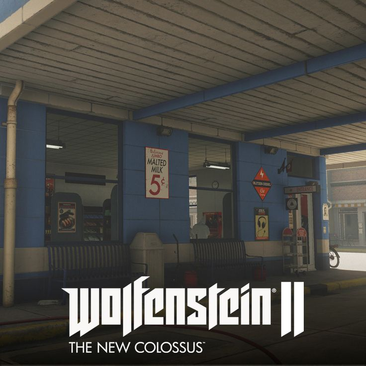 Wolfenstein 2: The New Colossus // Roswell, Daniel Robson on ArtStation at https://www.artstation.com/artwork/aqoXz